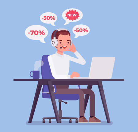 Salesperson cold calling by telephone to potential customer. Male operator, telemarketing assistant advertising, selling spam product useless service for client. Vector flat style cartoon illustration