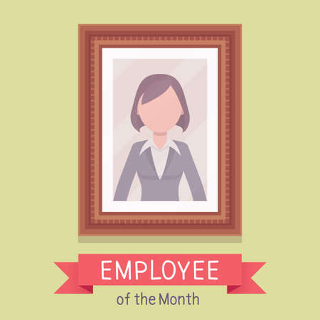 Employee of month, female photo wall frame template. Profile portrait with empty face zone, EOM reward program for worker in achieving professional excellence. Vector flat style cartoon illustration 向量圖像