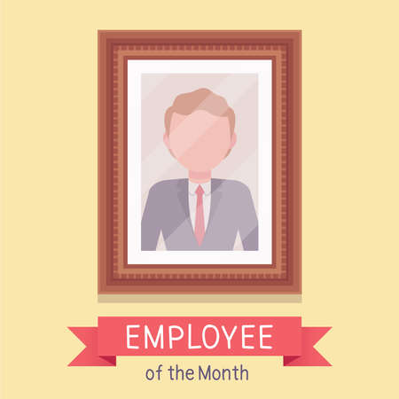 Employee of the month, male photo wall frame template. Profile portrait with empty face zone, EOM reward program for worker in achieving professional excellence. Vector flat style cartoon illustration