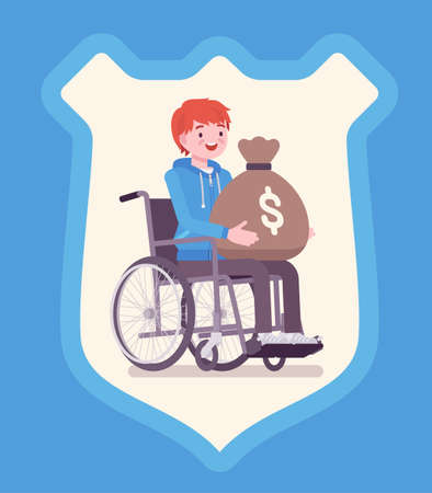 Disability insurance benefit payments for disabled wheelchair man. Person holding dollar money sack, shield background symbol of defense, protection program. Vector flat style cartoon illustration