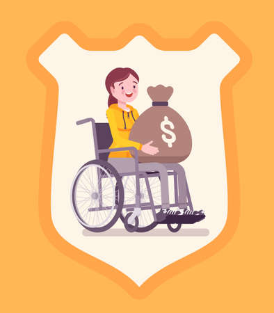 Disability insurance benefit payments for disabled wheelchair woman. Person holding dollar money sack, shield background symbol of defense, protection program. Vector flat style cartoon illustration
