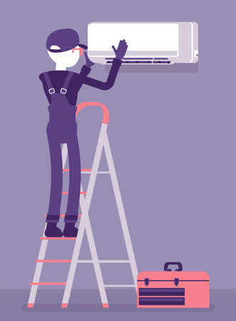 Air Conditioner unit installation, fixing, ac repair. Service technician, professional installer of conditioning system working on ladder to mount split system. Vector creative stylized illustration
