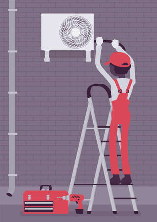 Air Conditioner outdoor unit installation, ac outside repair service. Technician working to clean split system, filter, doing professional regular maintenance. Vector creative stylized illustration