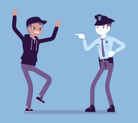 Conflict of interest for policeman and criminal. Police abuse, excessive use of force dealing with young suspect and civilian, treat with cruel words, violence. Vector creative stylized illustration