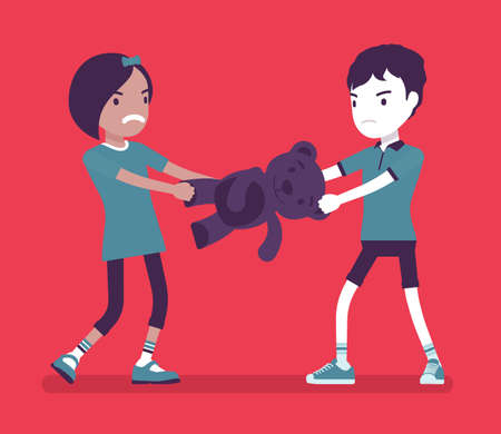 Conflict of interest, little boy and girl sharing toy bear. Brother and sister jealousy childhood problem, sibling rivalry, family feelings and aggression. Vector creative stylized illustration