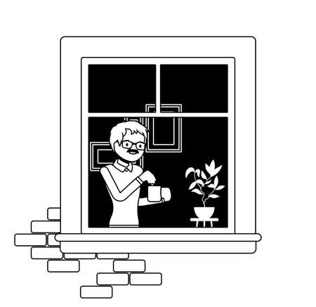 Window with young man brewing tea in a mug behind. Homebody person staying home to enjoy safe comfortable private and personal life indoors. Vector illustration, black, white ink pen line art drawing Illusztráció