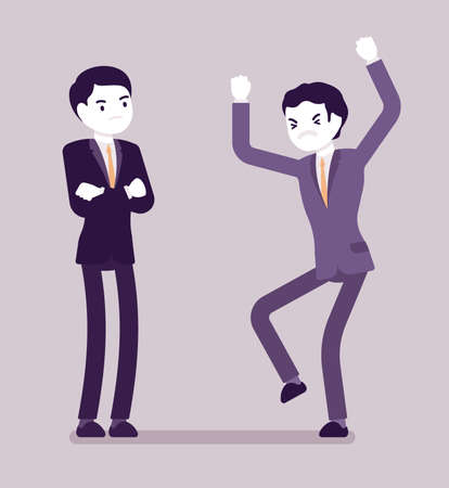 Conflict of interest for businessmen, professional, business, individual benefit. Men handling difficult emotions in professional life, work, non-fair trade. Vector creative stylized illustration Vectores