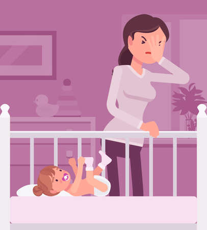Postpartum depression, mum feeling sad, fatigued, baby blues symptoms. Young tired mother having mood swings standing at baby crib of not sleeping kid. Vector flat style cartoon illustration
