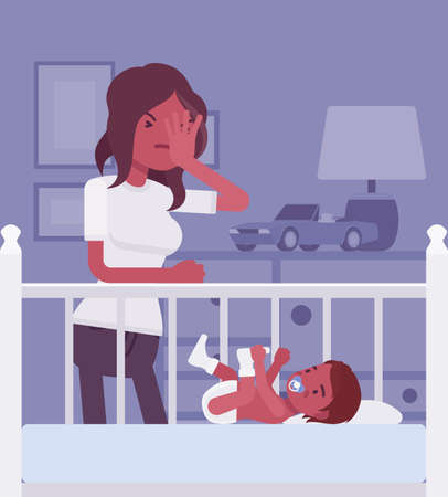 Postpartum depression, black mum feeling sad, fatigued, baby blues symptoms. Young tired mother having mood swings standing at baby crib of not sleeping kid. Vector flat style cartoon illustration