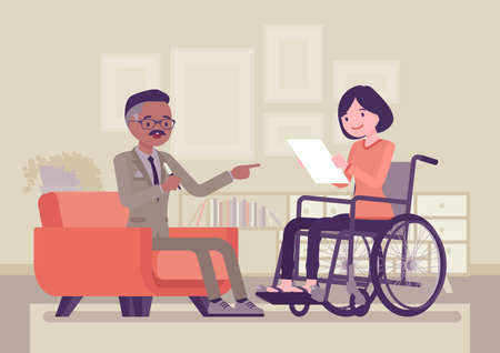 Disability insurance, medical support for disabled wheelchair woman. Sick, injured worker social help and state compensation, information or filing for DI paper. Vector creative stylized illustration