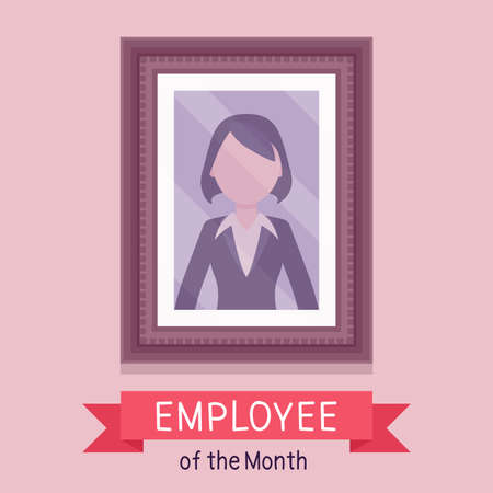 Employee of month, female photo wall frame template. Profile portrait with empty face zone, EOM reward program for worker in achieving professional excellence. Vector creative stylized illustration