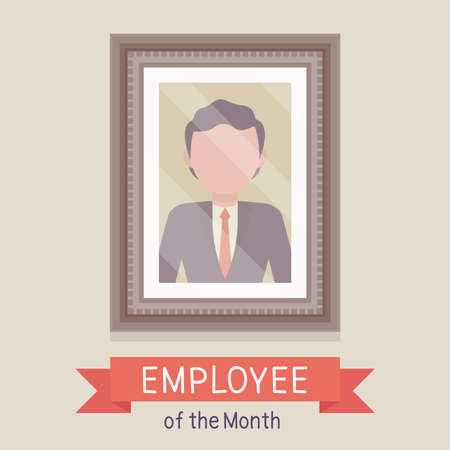 Employee of the month, male photo wall frame template. Profile portrait with empty face zone, EOM reward program for worker in achieving professional excellence. Vector creative stylized illustration