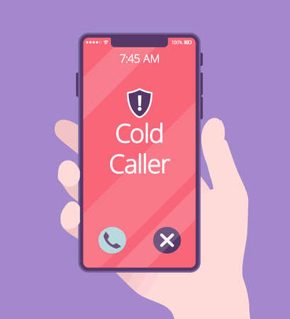Cold calling on telephone screen for potential customer. Hand holding phone, screen with spam and telemarketing incoming call, advertising product and service. Vector creative stylized illustration