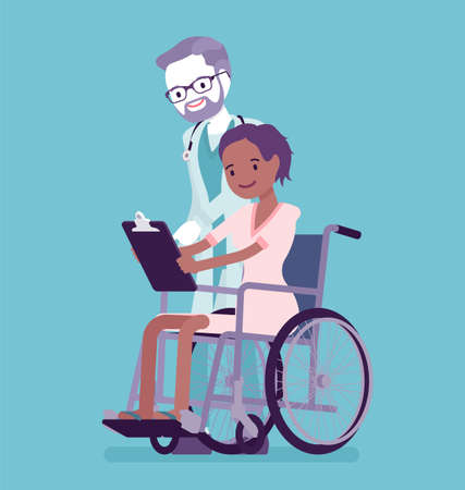 Disability insurance compensation benefit, disabled wheelchair woman and doctor. Sick, injured patient, health care coverage social security. Vector creative stylized illustration
