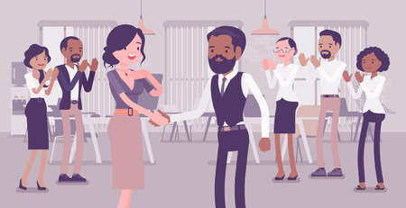 Employee of month, announcement and office girl awarding. Company worker gets reward, acknowledged in front of colleagues, praise for job, business performance. Vector creative stylized illustration