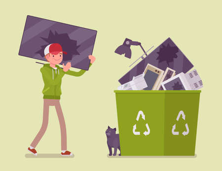 Electronic waste recycling, reuse and reprocessing of electrical equipment. Young man carrying broken monitor to through into a bin with recycle green symbol.