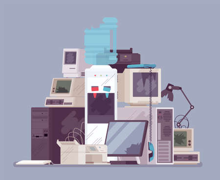 Electronic appliances waste trash pile, broken office equipment. Unwanted technology devices, not working digital rubbish, dangerous toxic metal, used materials.
