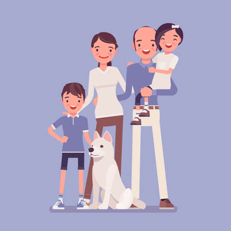Happy family of four with dog pet, full length portrait. Smiling parents, siblings, children together in love and harmony, loving, caring, close-knit members. Vector flat style cartoon illustration