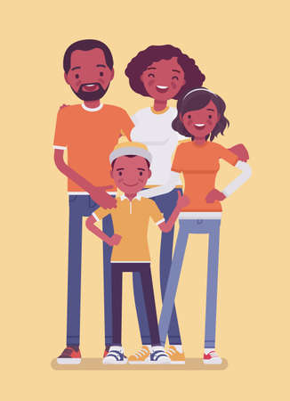 Happy black family of four full length portrait. Smiling parents, siblings, children together in love, harmony, inspirational loving, caring, close-knit friends. Vector flat style cartoon illustration