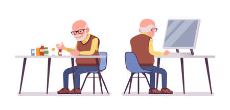 Old man, elderly person sorting medicines, pill bottles, pc working. Senior citizen, retired grandfather in glasses, old pensioner. Vector flat style cartoon illustration isolated on white background