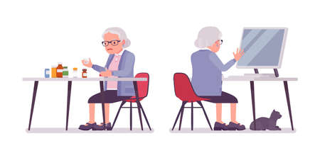 Old woman, elderly person sorting medicines, pill bottles, pc working. Senior citizen, retired grandmother in glasses, old pensioner. Vector flat style cartoon illustration isolated, white background