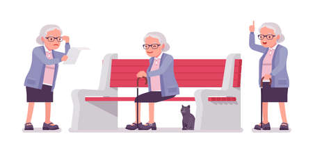 Old man, elderly person sitting on bench, reading paper. Senior citizen, retired grandmother wearing glasses, old age pensioner. Vector flat style cartoon illustration isolated on white background