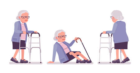 Old woman, elderly person with medical walker, cane slippery. Senior citizen, retired grandmother in glasses, old pensioner, grandma. Vector flat style cartoon illustration isolated, white background Vectores