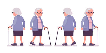 Old woman, elderly person with walking cane. Senior citizen, retired grandmother wearing glasses, old age pensioner, lonely grandma. Vector flat style cartoon illustration isolated on white background