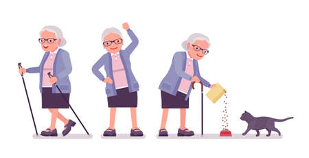 Old man, elderly person with nordic walking poles, cat. Senior citizen, retired grandmother wearing glasses, old pensioner, grandma. Vector flat style cartoon illustration isolated, white background