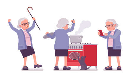Old woman, elderly person cooking food, using mobile phone. Senior citizen, retired grandmother wearing glasses, old age pensioner. Vector flat style cartoon illustration isolated on white background