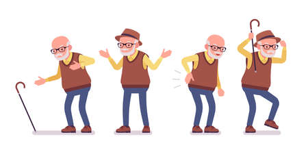 Old man, elderly person with cane having heart, back ache. Senior citizen, retired grandfather in glasses, old age pensioner, grandpa. Vector flat style cartoon illustration isolated, white background