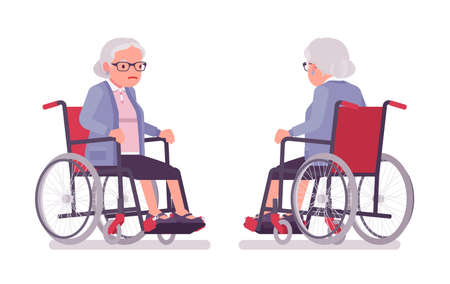 Old woman, elderly person sitting in a wheelchair. Senior citizen, retired grandmother wearing glasses, old age pensioner, grandma. Vector flat style cartoon illustration isolated on white background