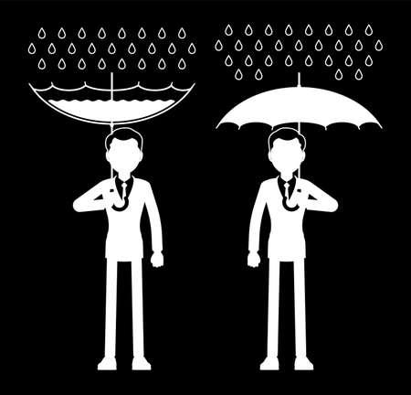 Rainwater harvesting man, RWH icon, collection and storage of rain. Drops catchment technology with umbrella during fresh water scarcity. Vector illustration, black and white ink pen line art drawing
