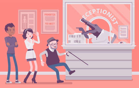 Angry rude hospital receptionist with aggressive crocodile face. Patients in medical clinic office attacked by alligator woman at reception, impolite greeting. Vector creative stylized illustration