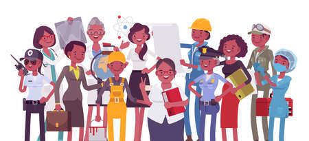Black female professional workers of different occupations and jobs. Group of people in management, office, banking, medicine, science career. Vector flat style cartoon illustration, white background