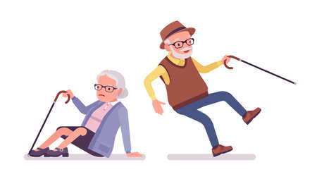 Old people, elderly man, woman in slip and fall accident. Senior citizens, retired grandparents, old-age pensioners with disabilities. Vector flat style cartoon illustration isolated, white background Ilustración de vector