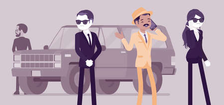Group of bodyguard people escort and protect important famous man. Personal security for vip celebrity, mafia boss by trained professionals, safe private life. Vector creative stylized illustration