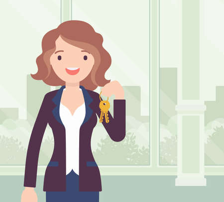 Happy smiling commercial real estate sale broker, female leasing agent. Pretty young woman holding house or new apartment keys, brokerage professional service. Vector creative stylized illustration