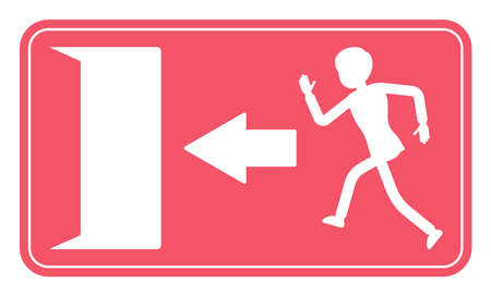 Emergency door exit sign, red safety evacuation indicator. Running man pictorial international representation, arrow showing the escape route, public facility. Vector flat style cartoon illustration