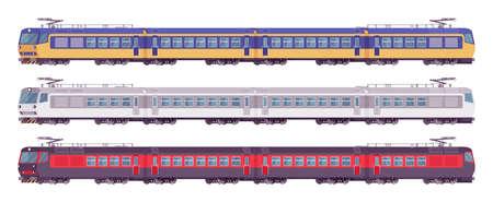 Passenger electric trains colorful set, rail transport