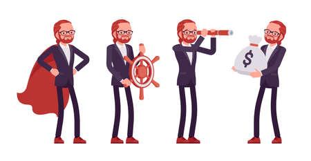 Businessman, red haired office worker with spy glass, navigation wheel Ilustração