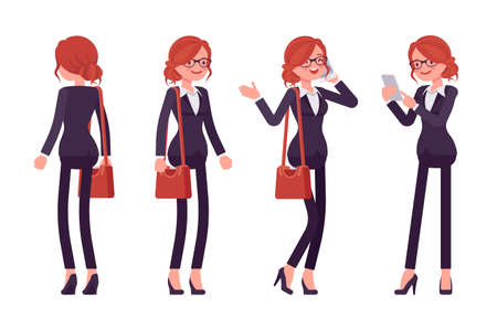 Businesswoman, young red haired office worker standing