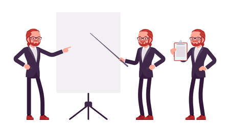 Businessman, young red haired office worker standing at whiteboard Ilustração