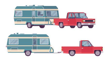 Camper trailer red car with covered wagon, family camping trip Ilustração