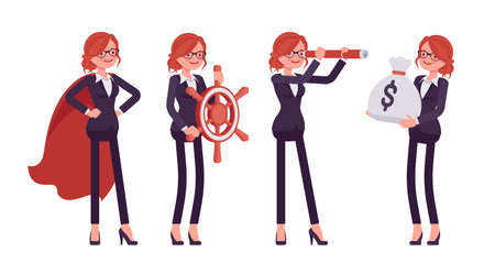 Businesswoman, red haired office worker with spy glass, navigation wheel