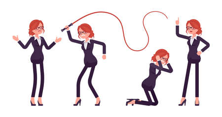 Businesswoman, young red haired office worker in emotions with whip