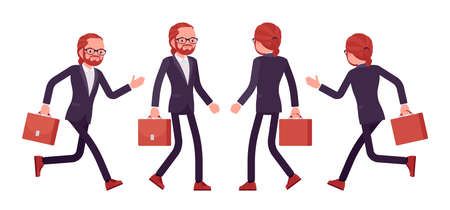 Businessman, young red haired office worker walking, running