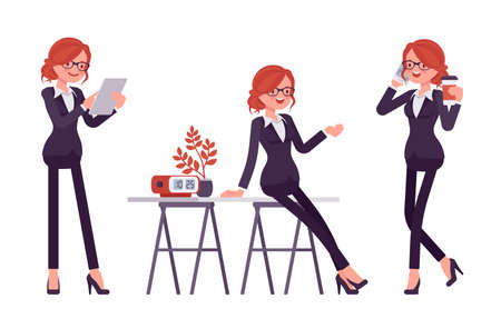 Businesswoman, red haired office worker standing, talking by phone