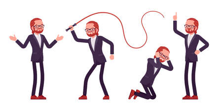 Businessman, young red haired office worker in emotions with whip