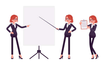 Businesswoman, young red haired office worker standing at whiteboard